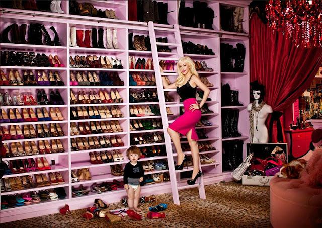 christina aguilera celebrity shoe closet